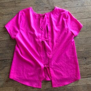 Pink Silk Blend Top W/Open Bow Back Detail